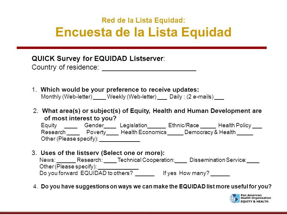 Red de la Lista Equidad: Encuesta de la Lista Equidad