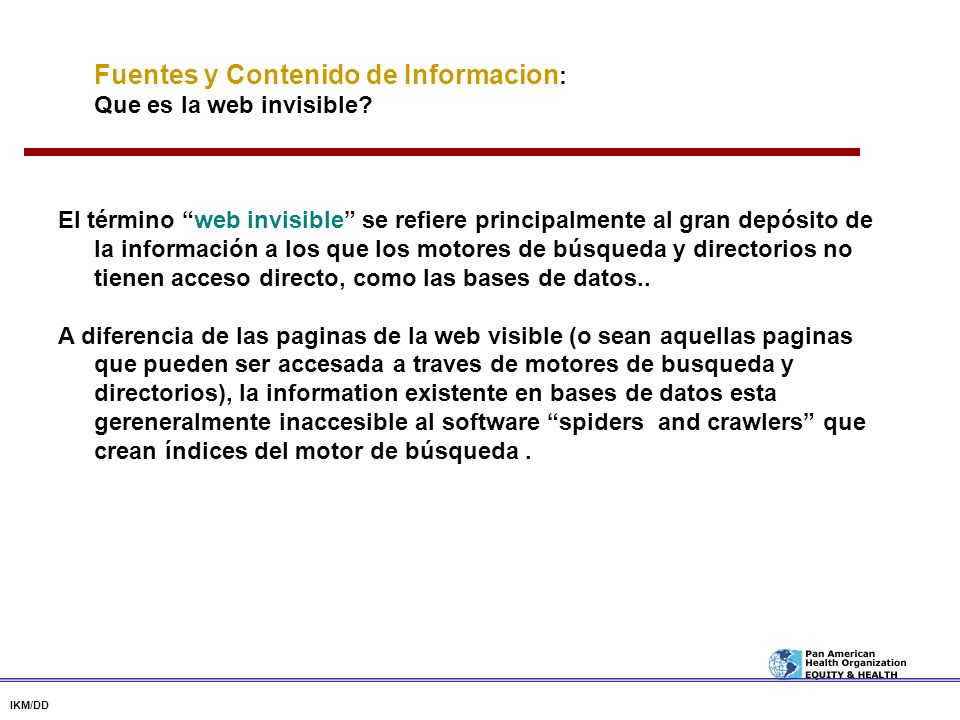Fuentes y Contenido de Informacion: Que es la web invisible
