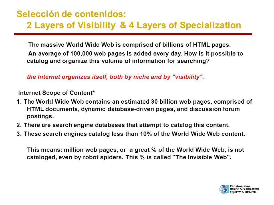 Selección de contenidos: 2 Layers of Visibility & 4 Layers of Specialization