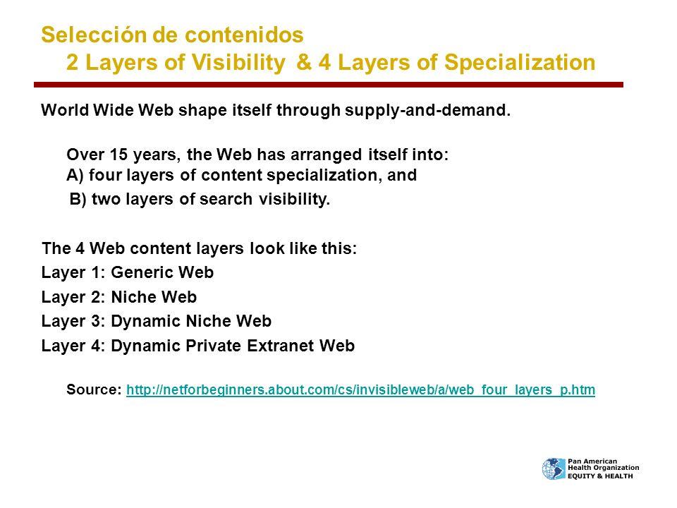 Selección de contenidos 2 Layers of Visibility & 4 Layers of Specialization