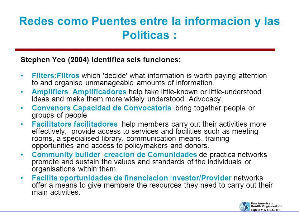 Redes como Puentes entre la informacion y las Politicas :