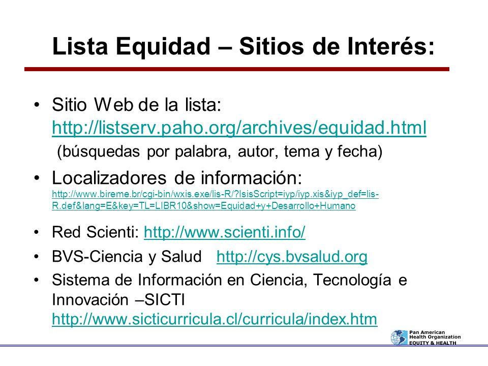 Lista Equidad – Sitios de Interés:
