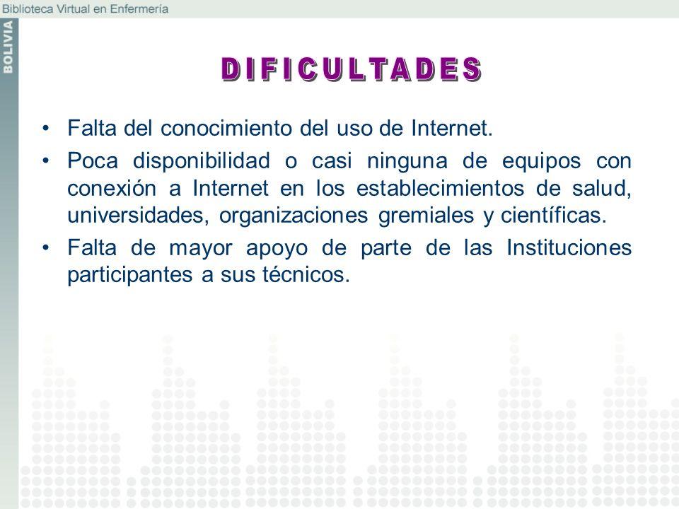DIFICULTADES Falta del conocimiento del uso de Internet.