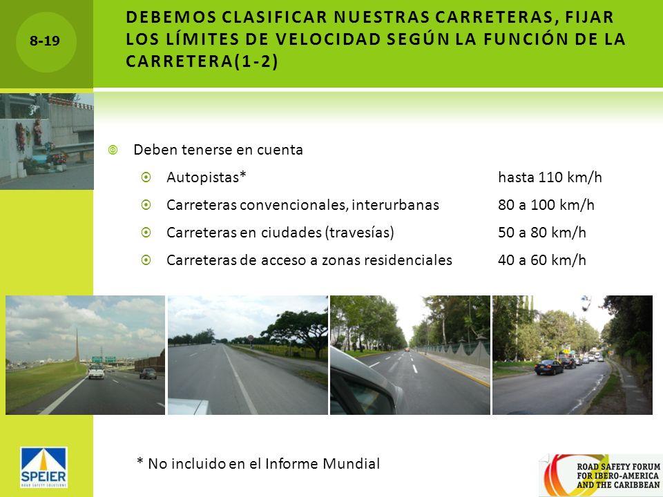 DEBEMOS CLASIFICAR NUESTRAS CARRETERAS, FIJAR LOS LÍMITES DE VELOCIDAD SEGÚN LA FUNCIÓN DE LA CARRETERA(1-2)