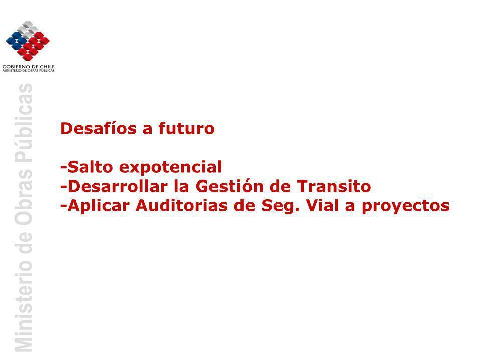 Desafíos a futuro -Salto expotencial -Desarrollar la Gestión de Transito -Aplicar Auditorias de Seg.