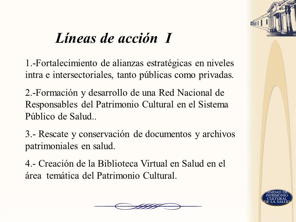 Líneas de acción I 1.-Fortalecimiento de alianzas estratégicas en niveles intra e intersectoriales, tanto públicas como privadas.