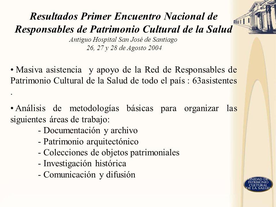 Resultados Primer Encuentro Nacional de Responsables de Patrimonio Cultural de la Salud Antiguo Hospital San José de Santiago 26, 27 y 28 de Agosto 2004