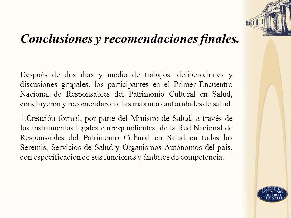Conclusiones y recomendaciones finales.