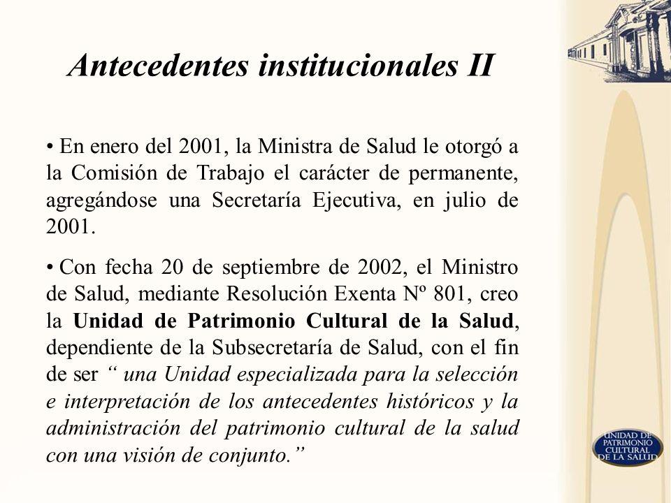 Antecedentes institucionales II