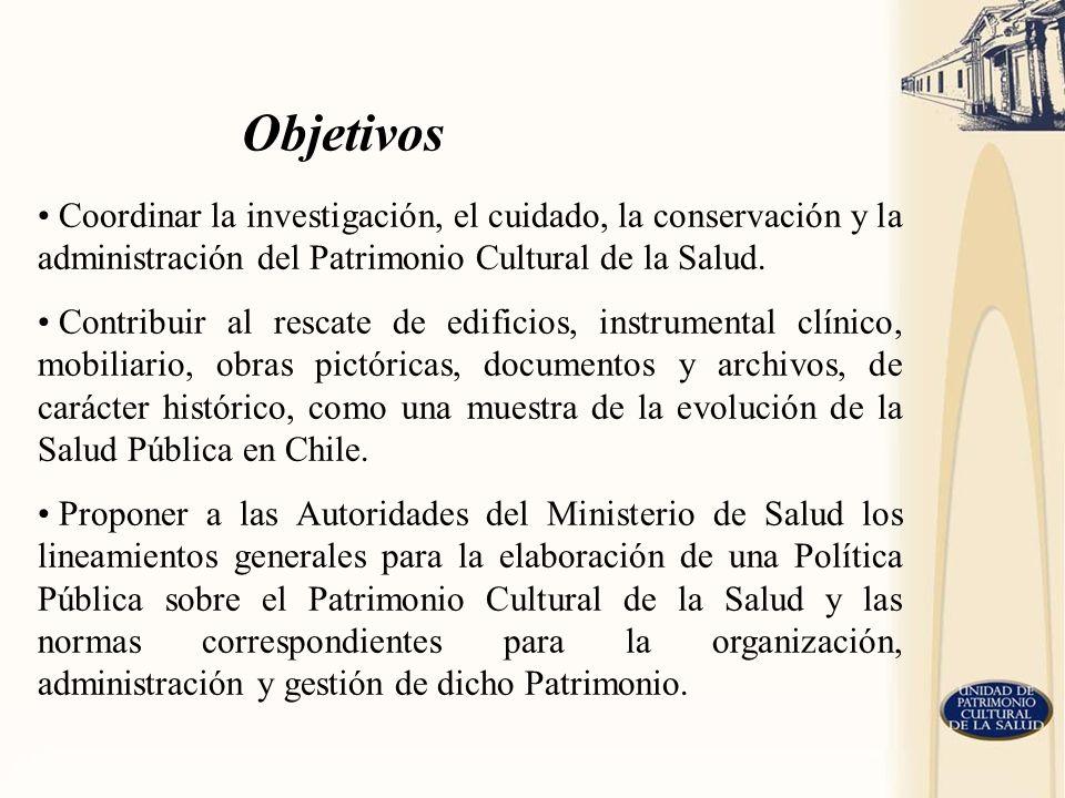 Objetivos Coordinar la investigación, el cuidado, la conservación y la administración del Patrimonio Cultural de la Salud.