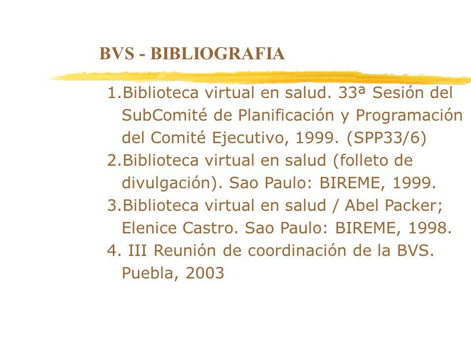 BVS - BIBLIOGRAFIA1.Biblioteca virtual en salud. 33ª Sesión del SubComité de Planificación y Programación del Comité Ejecutivo, 1999. (SPP33/6)