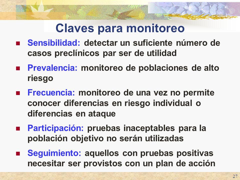 Claves para monitoreo Sensibilidad: detectar un suficiente número de casos preclínicos par ser de utilidad.