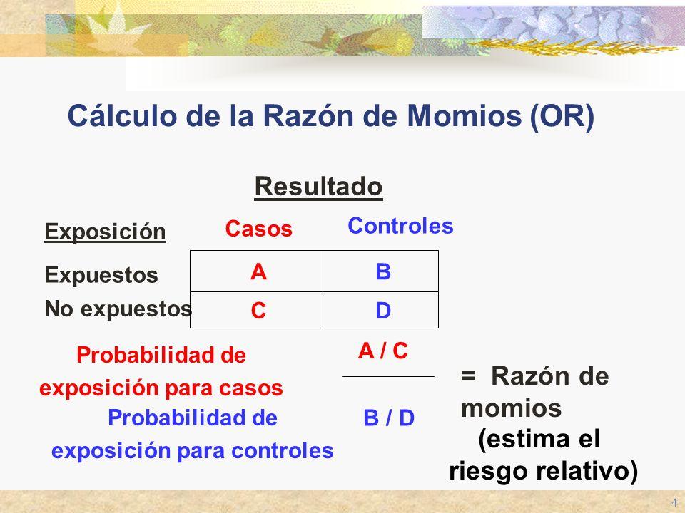Cálculo de la Razón de Momios (OR)