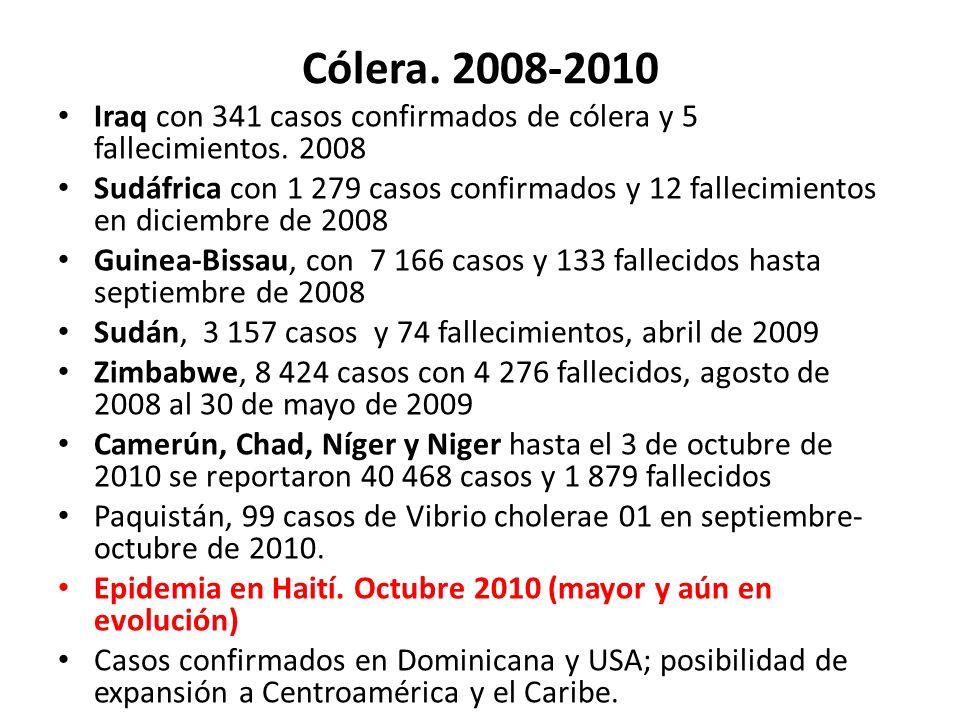 Cólera. 2008-2010 Iraq con 341 casos confirmados de cólera y 5 fallecimientos. 2008.