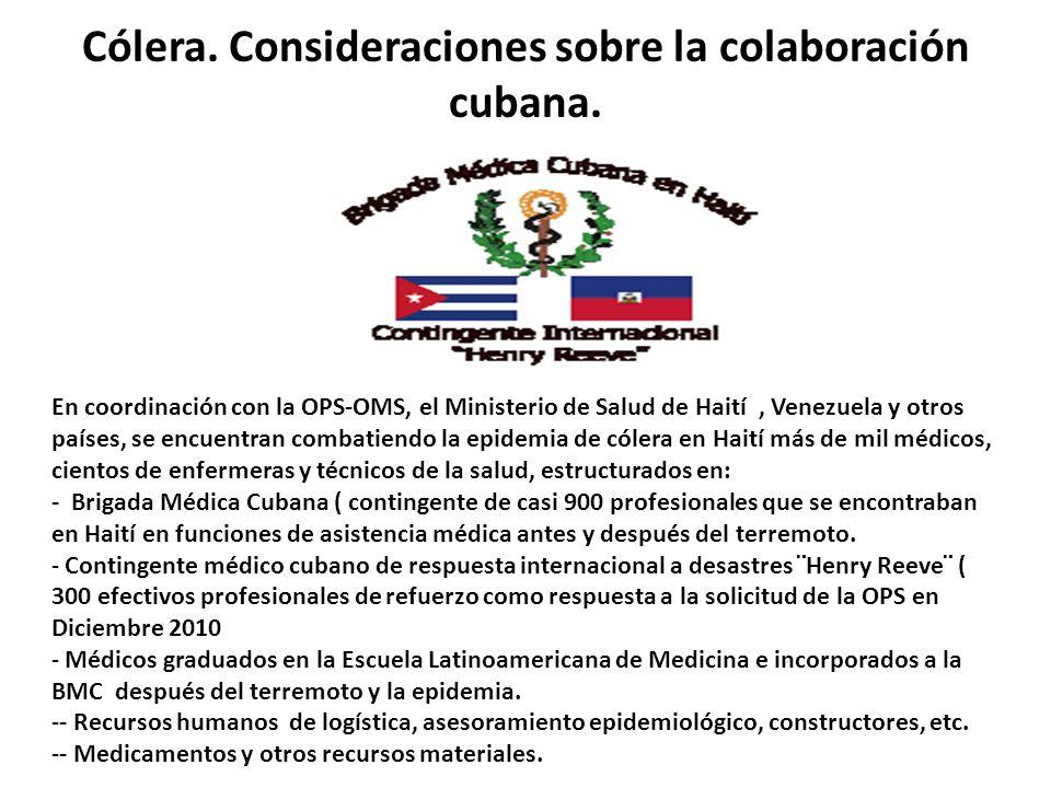 Cólera. Consideraciones sobre la colaboración cubana.