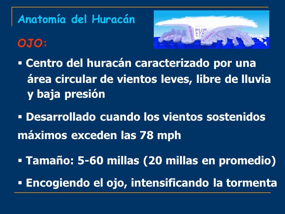 Centro del huracán caracterizado por una