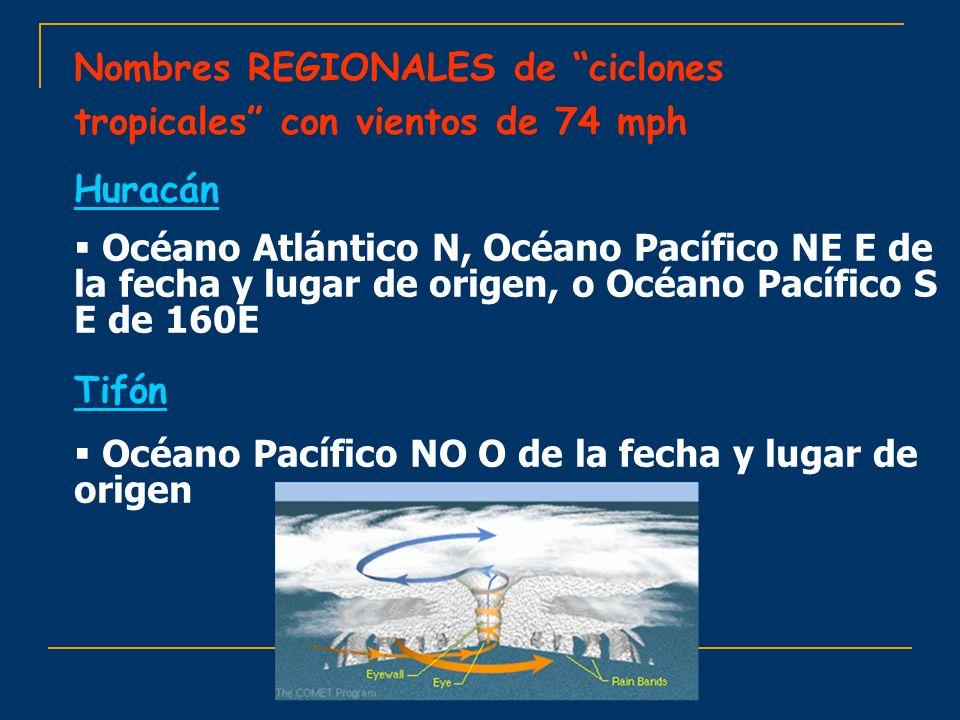 Nombres REGIONALES de ciclones tropicales con vientos de 74 mph