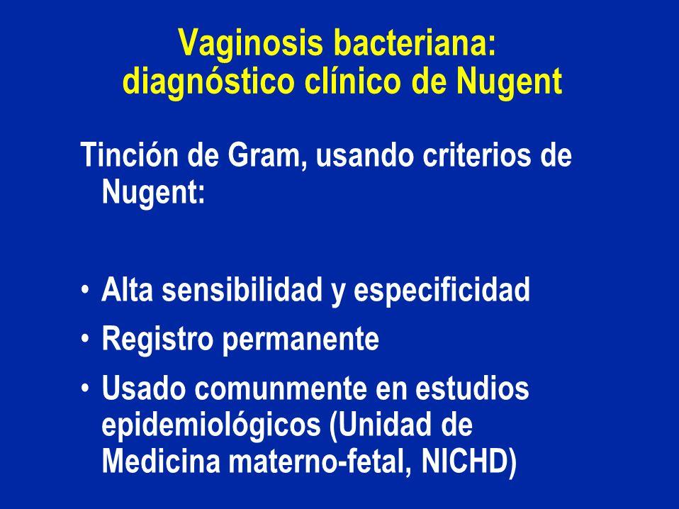 Vaginosis bacteriana: diagnóstico clínico de Nugent