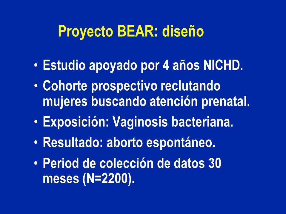 Proyecto BEAR: diseño Estudio apoyado por 4 años NICHD.