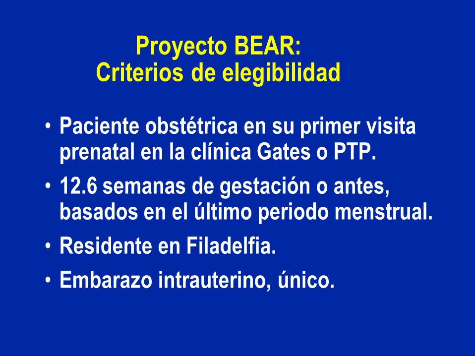 Proyecto BEAR: Criterios de elegibilidad