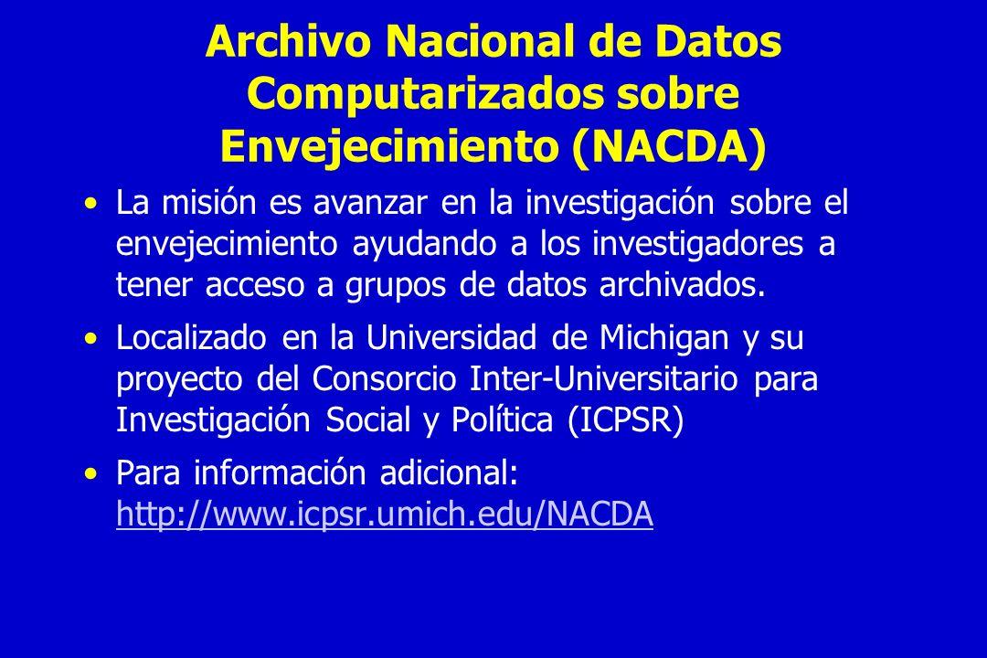Archivo Nacional de Datos Computarizados sobre Envejecimiento (NACDA)