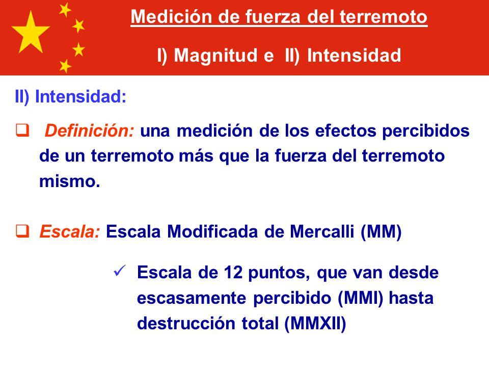 Medición de fuerza del terremoto I) Magnitud e II) Intensidad