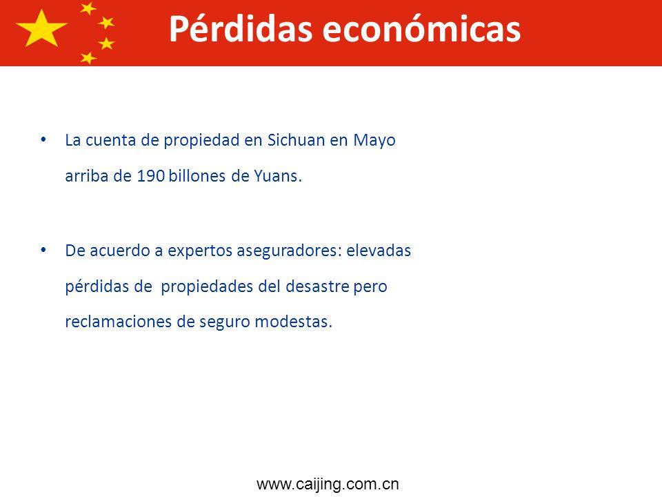 Pérdidas económicasLa cuenta de propiedad en Sichuan en Mayo arriba de 190 billones de Yuans.