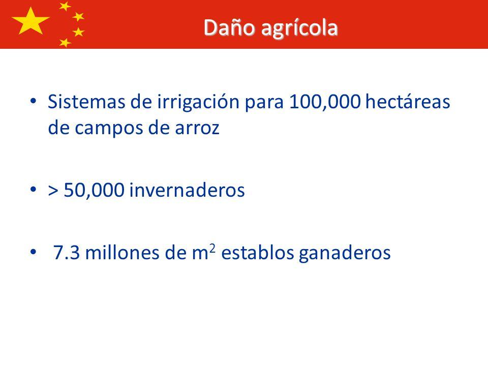 Daño agrícolaSistemas de irrigación para 100,000 hectáreas de campos de arroz. > 50,000 invernaderos.