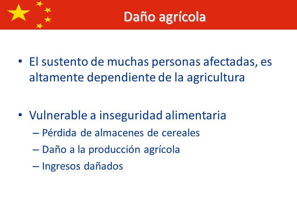 Daño agrícolaEl sustento de muchas personas afectadas, es altamente dependiente de la agricultura. Vulnerable a inseguridad alimentaria.