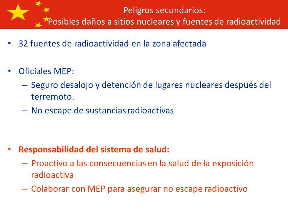 32 fuentes de radioactividad en la zona afectada Oficiales MEP: