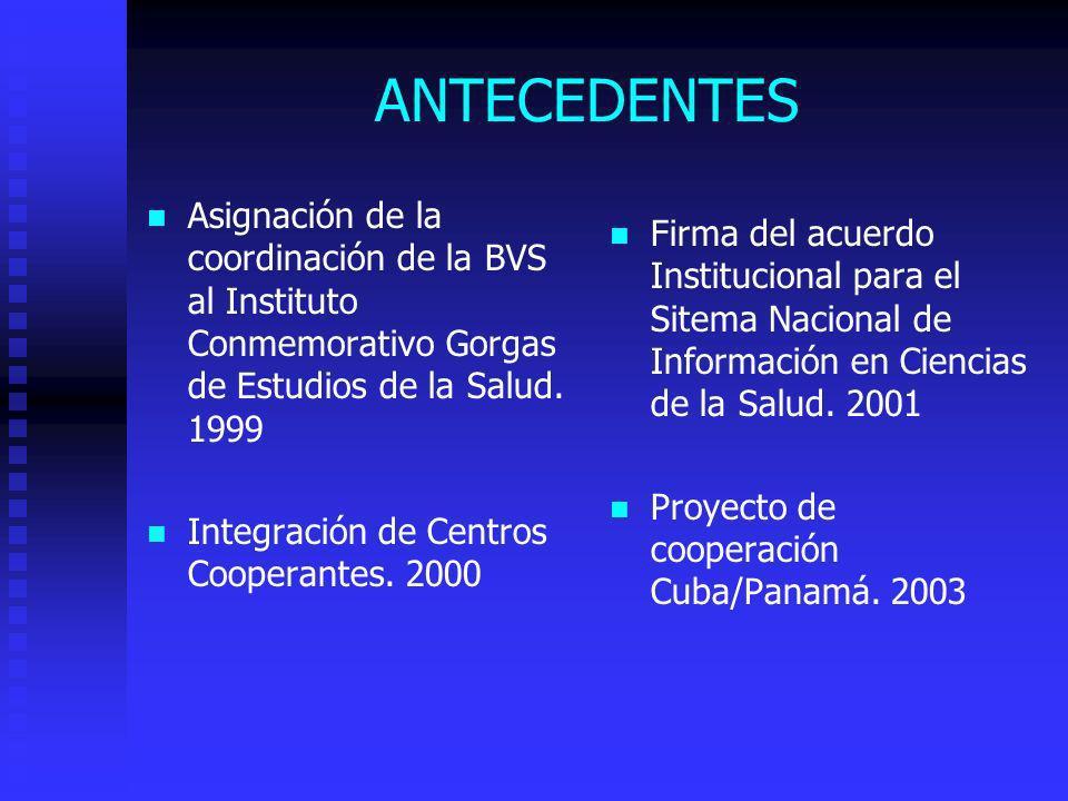 ANTECEDENTES Asignación de la coordinación de la BVS al Instituto Conmemorativo Gorgas de Estudios de la Salud. 1999.