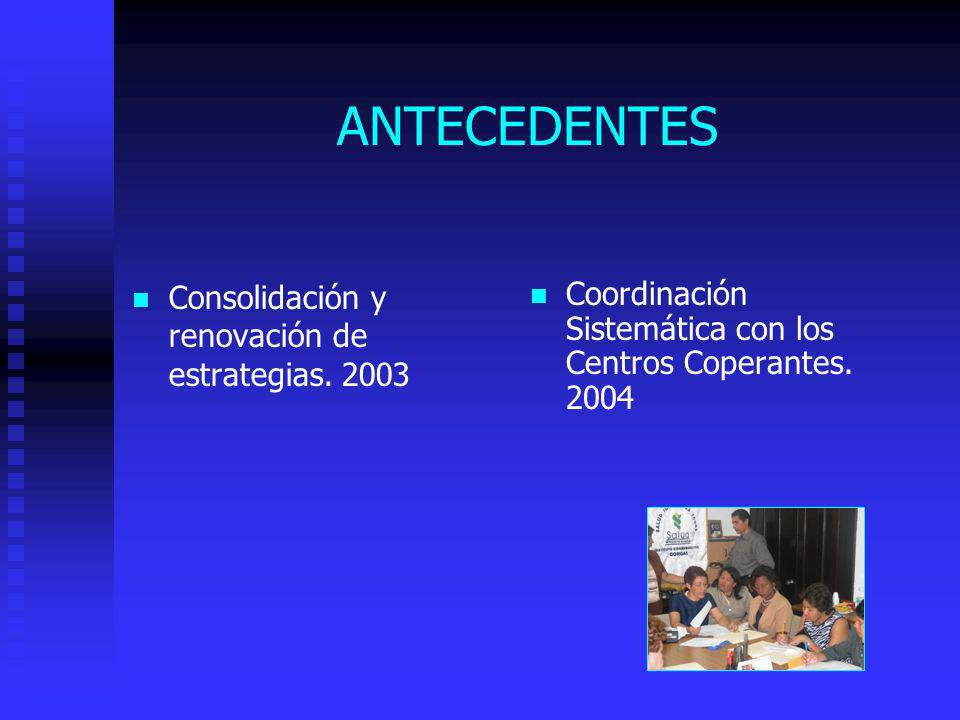 ANTECEDENTES Consolidación y renovación de estrategias. 2003