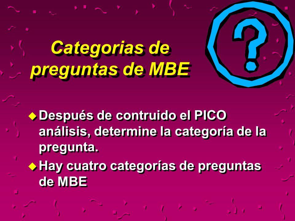 Categorias de preguntas de MBE