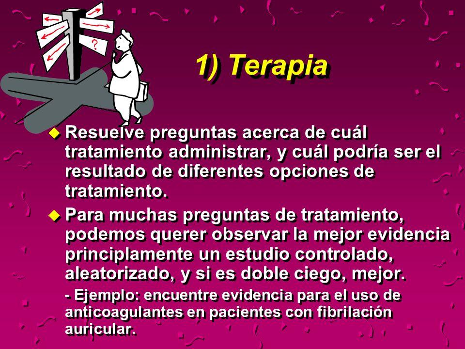 1) TerapiaResuelve preguntas acerca de cuál tratamiento administrar, y cuál podría ser el resultado de diferentes opciones de tratamiento.
