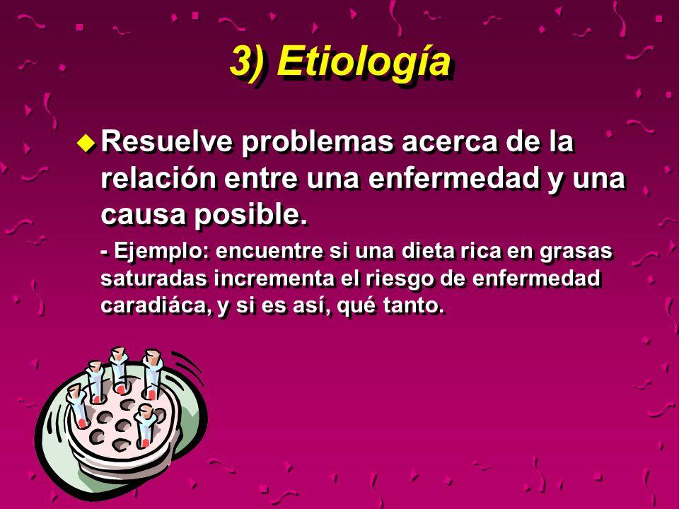 3) EtiologíaResuelve problemas acerca de la relación entre una enfermedad y una causa posible.