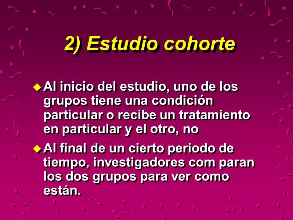 2) Estudio cohorteAl inicio del estudio, uno de los grupos tiene una condición particular o recibe un tratamiento en particular y el otro, no