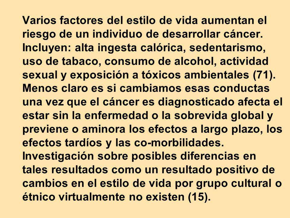 Varios factores del estilo de vida aumentan el riesgo de un individuo de desarrollar cáncer.