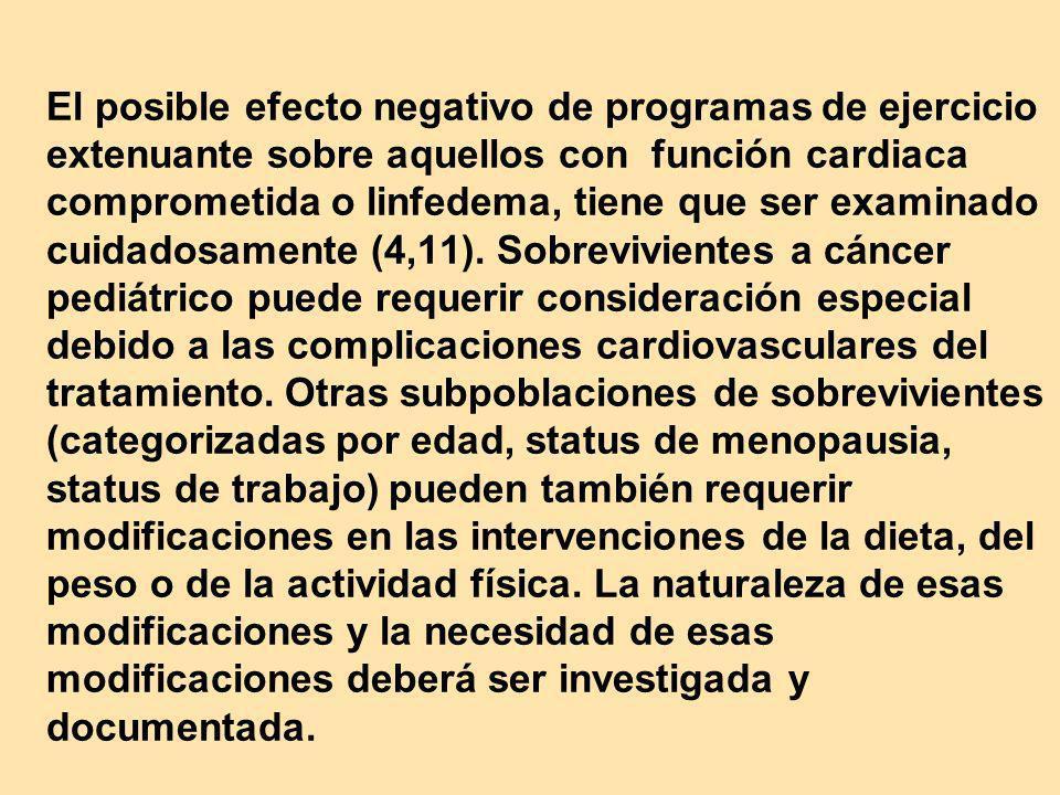 El posible efecto negativo de programas de ejercicio extenuante sobre aquellos con función cardiaca comprometida o linfedema, tiene que ser examinado cuidadosamente (4,11).