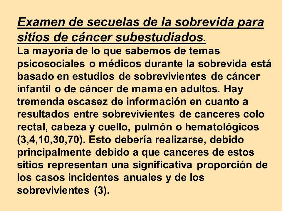 Examen de secuelas de la sobrevida para sitios de cáncer subestudiados
