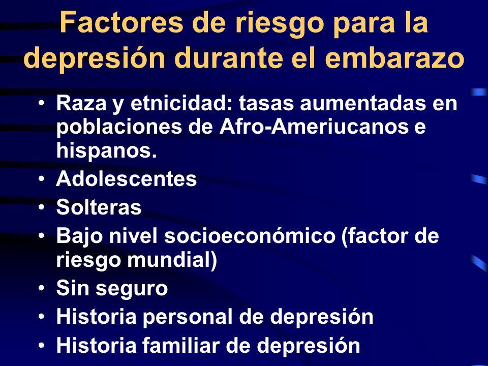 Factores de riesgo para la depresión durante el embarazo