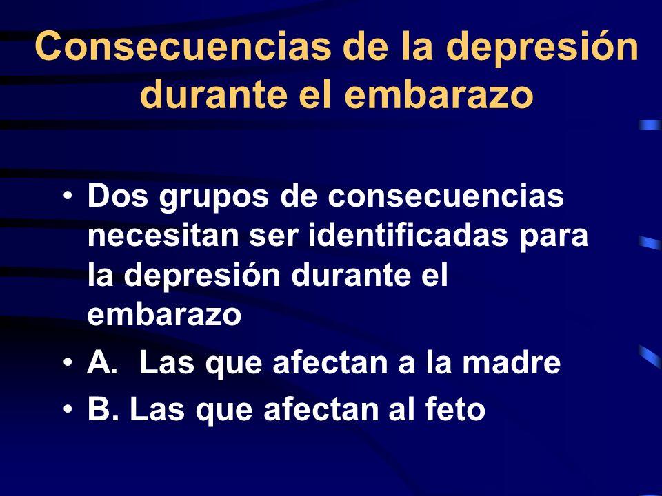 Consecuencias de la depresión durante el embarazo