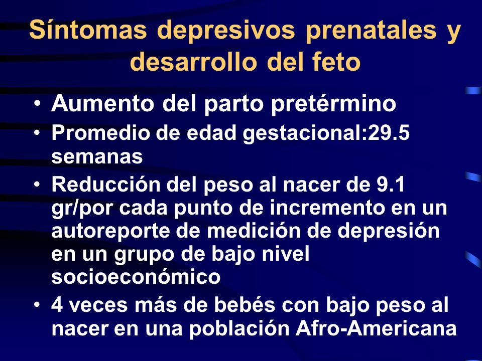 Síntomas depresivos prenatales y desarrollo del feto