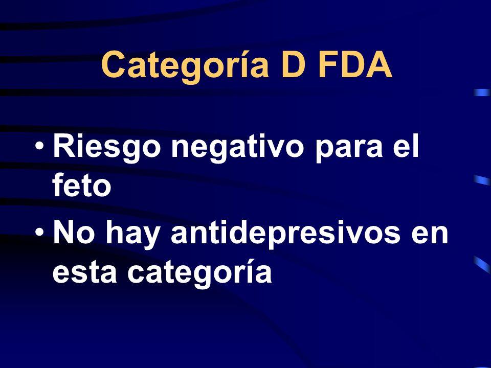 Categoría D FDA Riesgo negativo para el feto