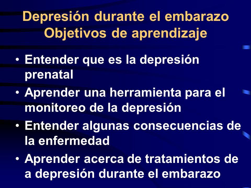 Depresión durante el embarazo Objetivos de aprendizaje