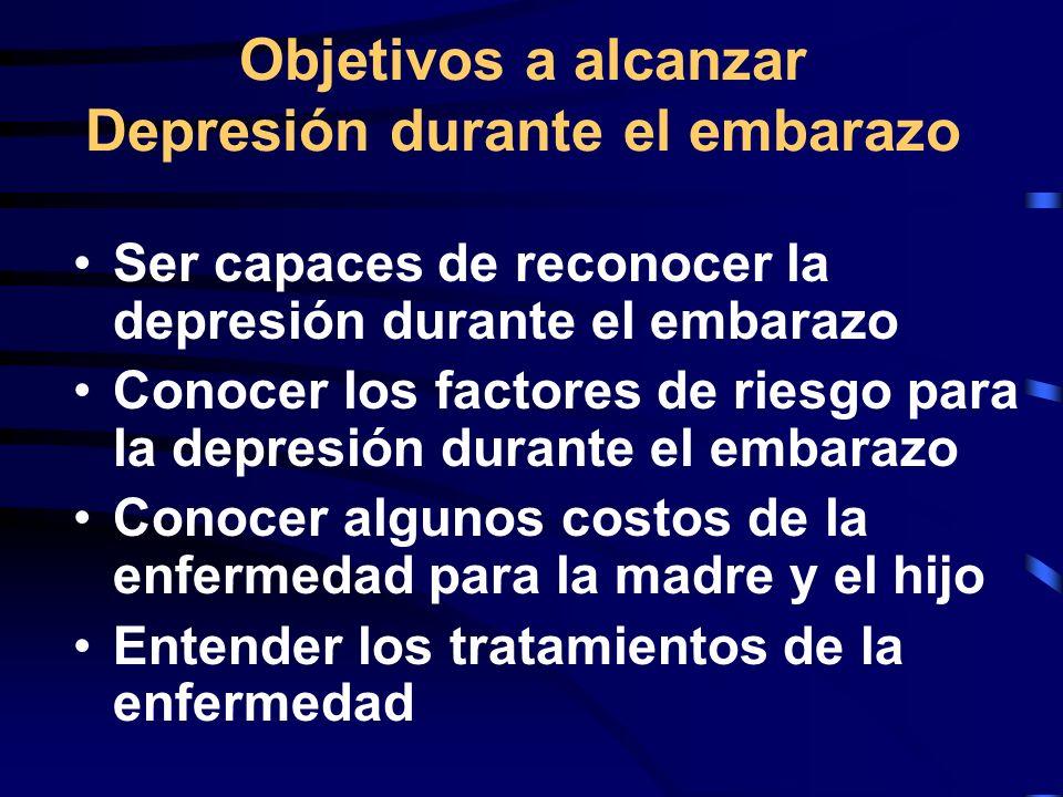 Objetivos a alcanzar Depresión durante el embarazo