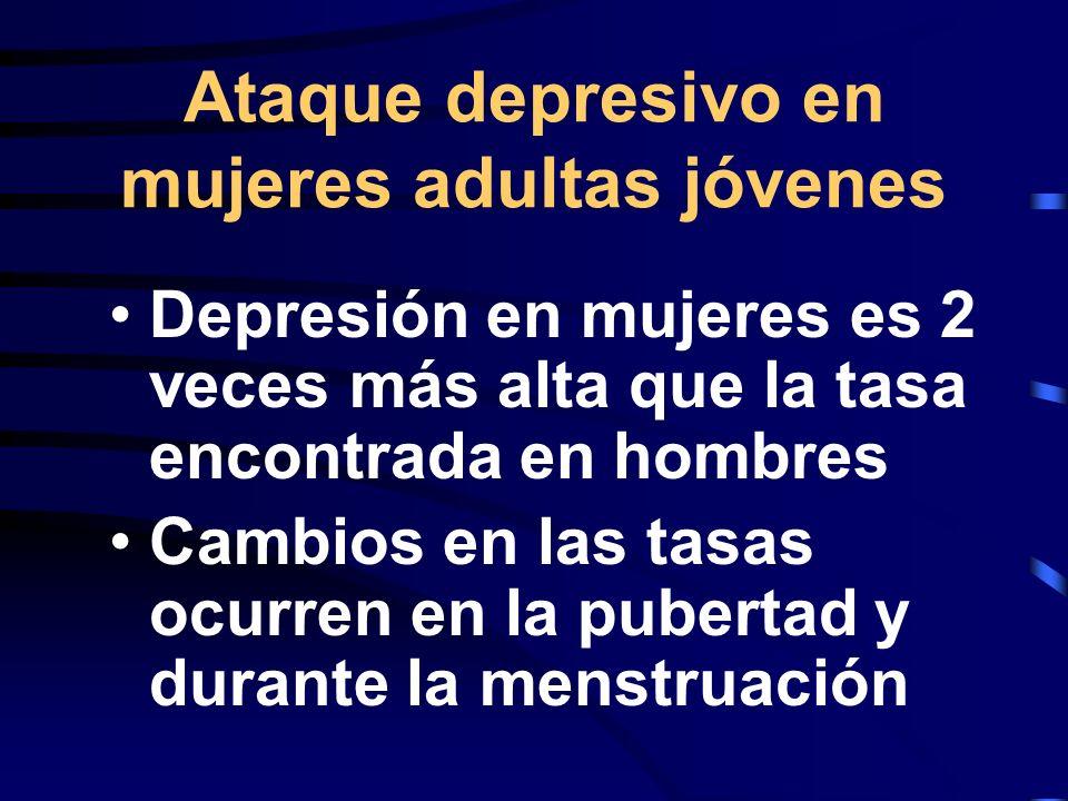 Ataque depresivo en mujeres adultas jóvenes
