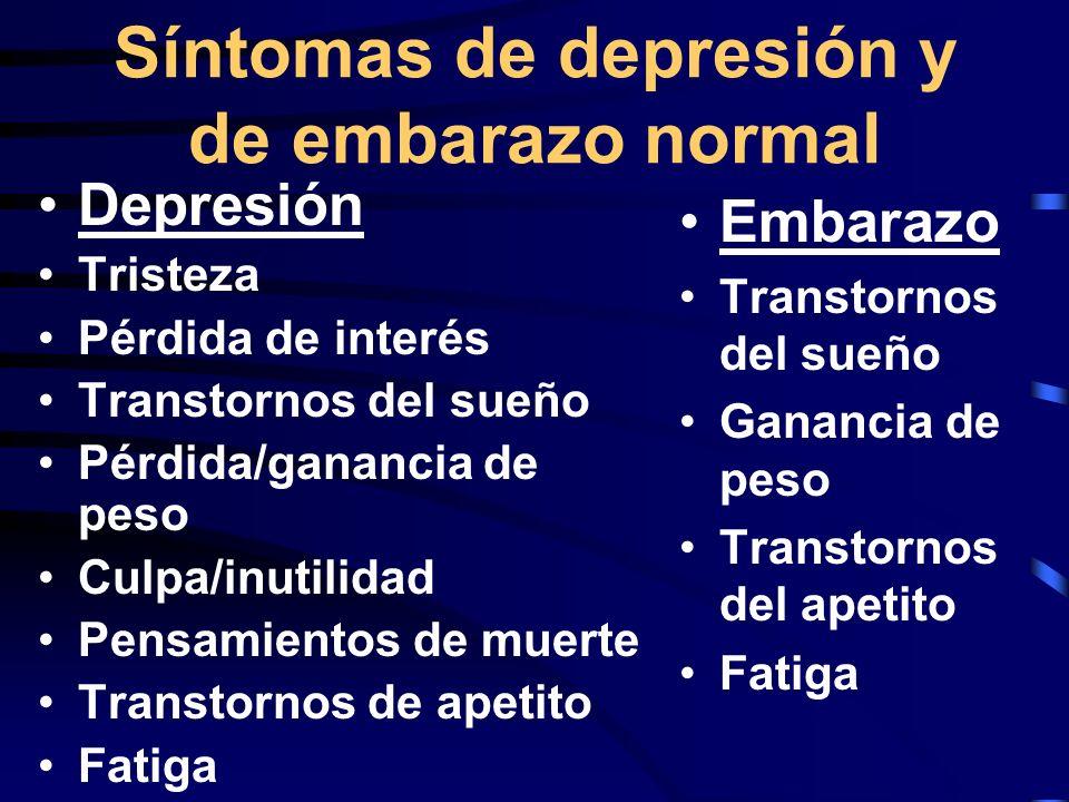 Síntomas de depresión y de embarazo normal