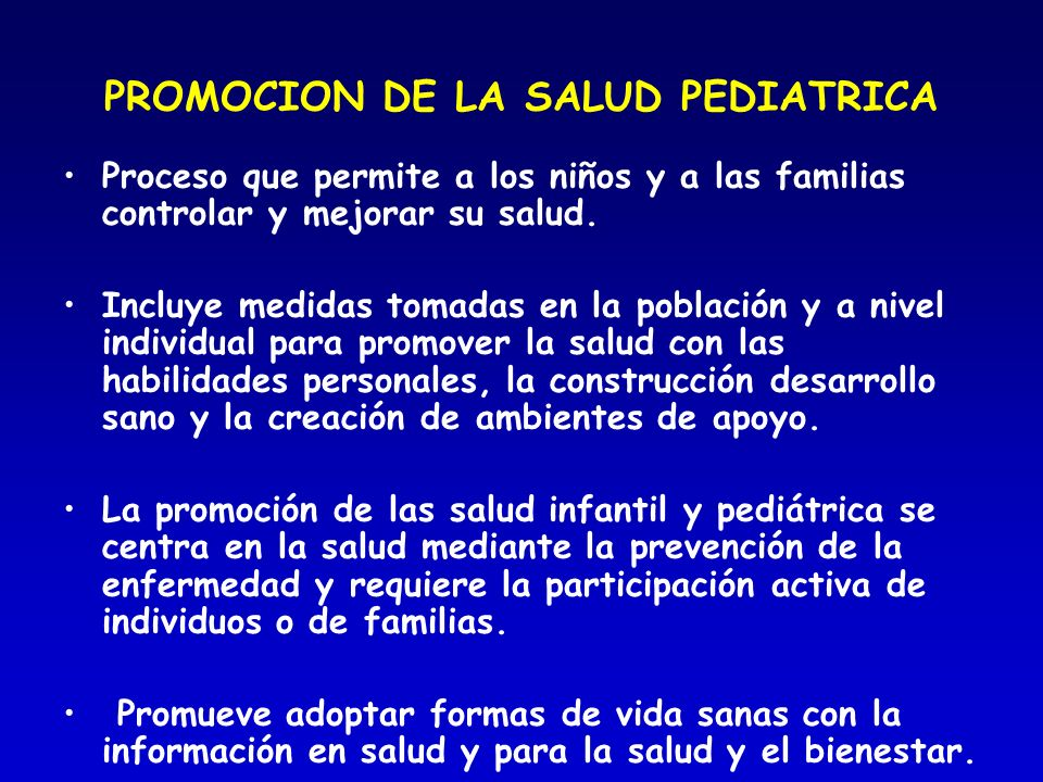 PROMOCION DE LA SALUD PEDIATRICA