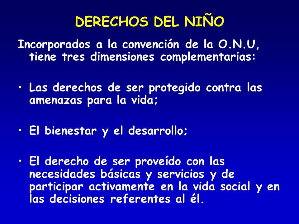 DERECHOS DEL NIÑO Incorporados a la convención de la O.N.U, tiene tres dimensiones complementarias: