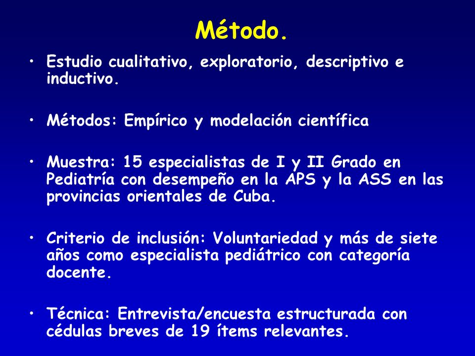 Método. Estudio cualitativo, exploratorio, descriptivo e inductivo.
